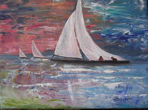 Ocean Poster featuring the painting Sailboats At Sunrise by Barbara Harper