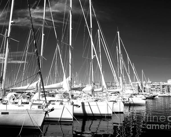 Sailboats Docked Poster featuring the photograph Sailboats Docked by John Rizzuto