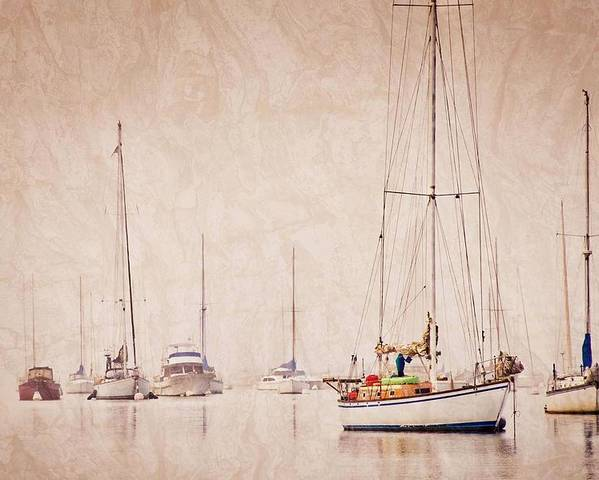 Sailboats Poster featuring the photograph Sailboats in Morro Bay Fog by Zayne Diamond Photographic