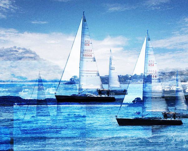 Boats Poster featuring the photograph Sailboats by MW Robbins