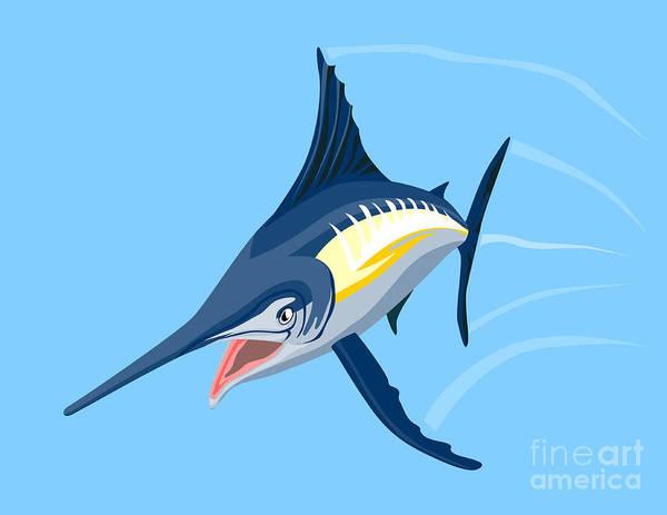 Fish Poster featuring the digital art Sailfish Diving by Aloysius Patrimonio