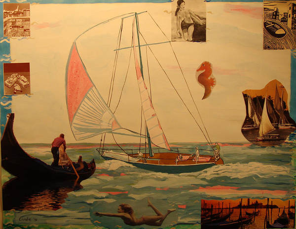 Poster featuring the painting Sailing and other boats by Biagio Civale