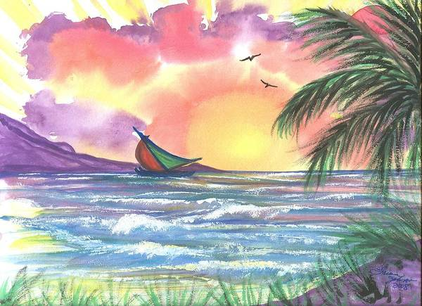 Tropical Seascape Poster featuring the painting Sailing Away by Laura Johnson