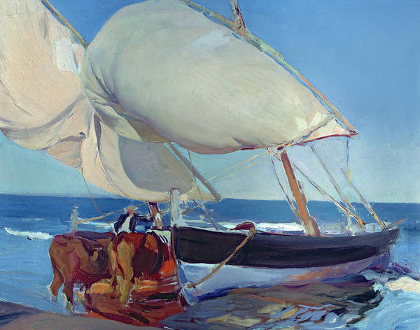 Boat Poster featuring the painting Sailing Boats by Joaquin Sorolla y Bastida