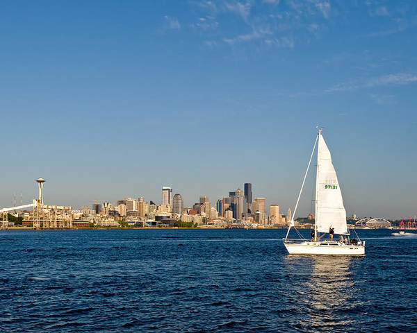 Seattle Poster featuring the photograph Sailing By Seattle by Tom Dowd