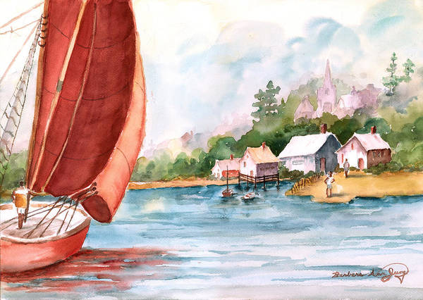 Seascape Poster featuring the painting Sailing Home by Barbara Jung