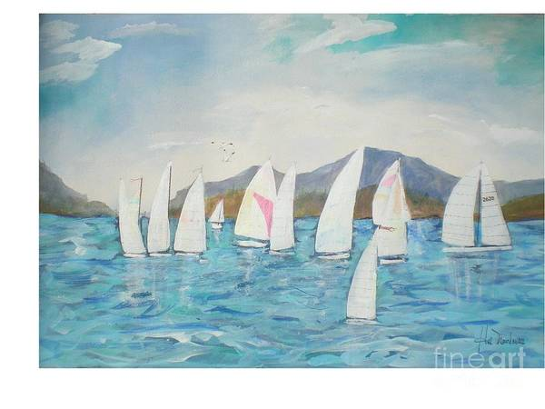 Lake Scene Poster featuring the painting Sailing Lake Washington by Hal Newhouser