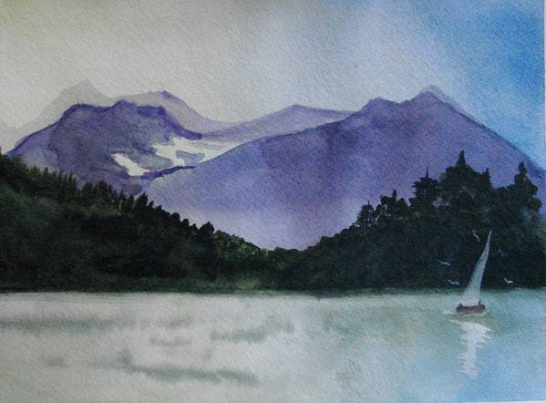 Sailing Poster featuring the painting Sailing On The Lake by Dottie Briggs