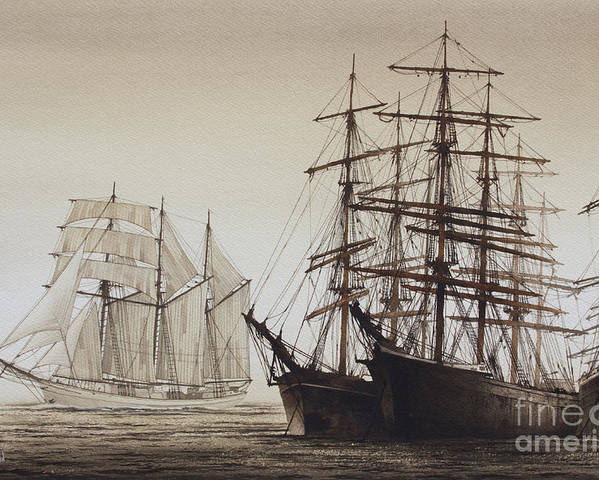American Marine Artist Poster featuring the painting Sailing Ships by James Williamson