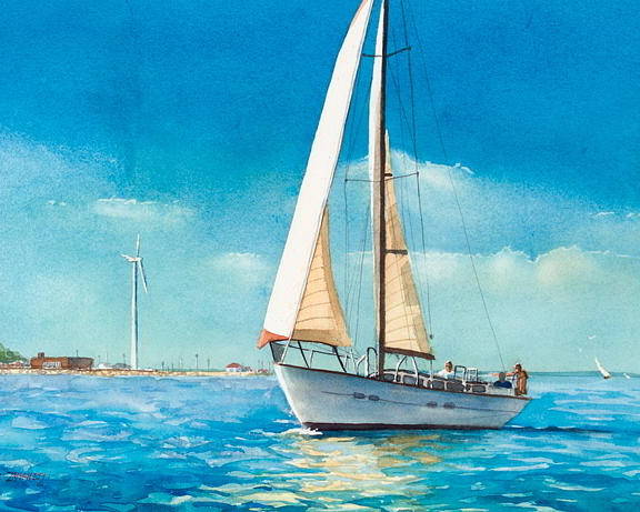 New England Poster featuring the painting Sailing Through The Gut by Laura Lee Zanghetti