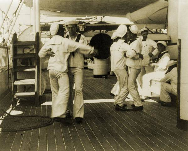 History Poster featuring the photograph Sailors Aboard The Uss Olympia Waltzing by Everett