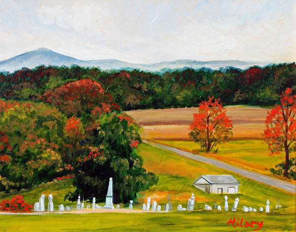 Landscape Poster featuring the painting Salem Cemetery In October by Hilary England