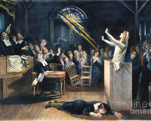 1692 Poster featuring the photograph Salem Witch Trial, 1692 by Granger