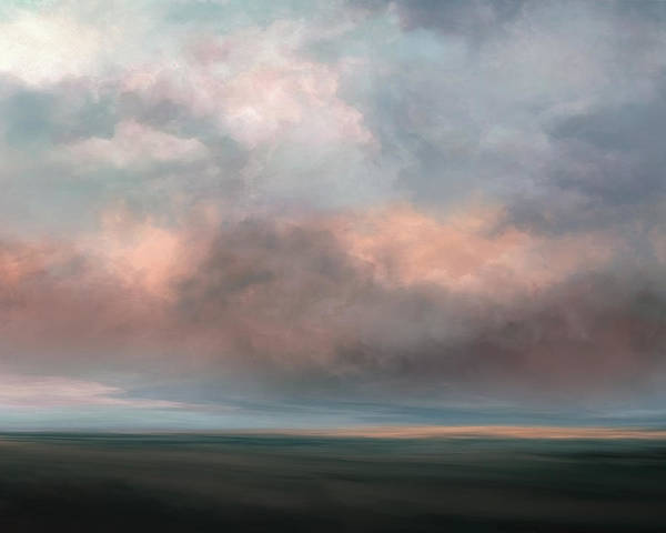 Lc Bailey Poster featuring the mixed media Salmon Sky by Lonnie Christopher