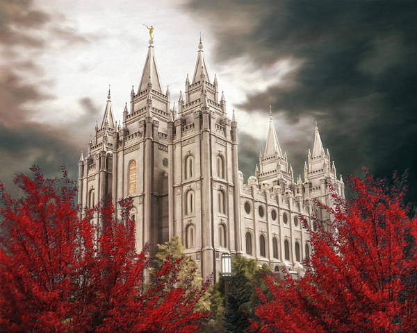 Salt Lake Poster featuring the painting Salt Lake Temple - A Light in the Storm - cropped by Brent Borup