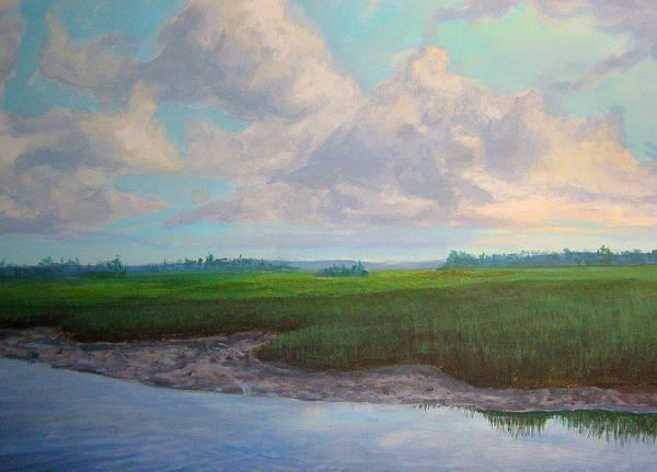 Oak Island Nc Poster featuring the painting Salt Marsh by Evelynn Eighmey