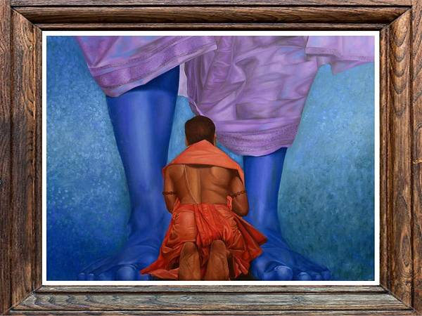 Devotion Poster featuring the painting Samarpan 1 by Deepak Deshmukh