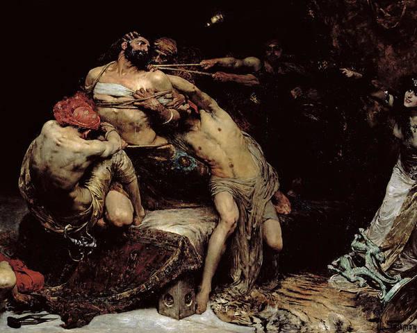 Bound; Philistines; Philistine; Delilah; Rope; Cutting Hair; Strength; Struggle; Dramatic; Dalila; Samson Poster featuring the painting Samson by Solomon Joseph Solomon