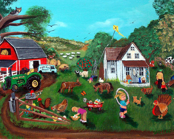 Farm Poster featuring the painting Samuels Alaphabet Farm by Darlene Green