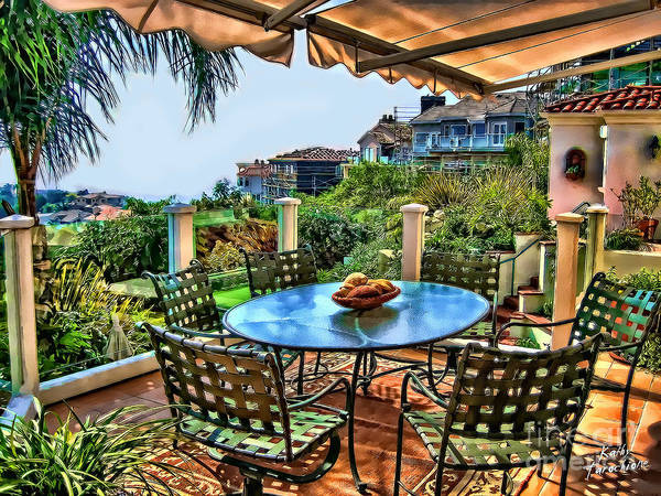 San Clemente Poster featuring the photograph San Clemente Estate Patio by Kathy Tarochione
