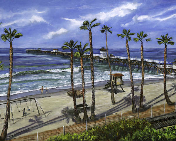 Pier Poster featuring the painting San Clemente Pier by Lisa Reinhardt