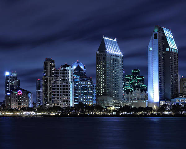 San Diego Poster featuring the photograph San Diego Skyline At Night by Larry Marshall