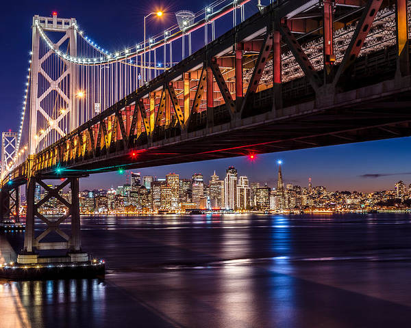 San Francisco Bay Bridge Poster Featuring The Photograph San Francisco Bay  Bridge City Lights By Dan