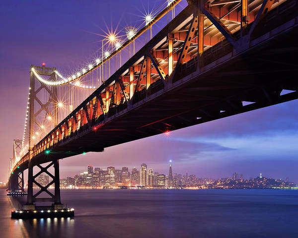 Horizontal Poster featuring the photograph San Francisco Bay Bridge by Photo by Mike Shaw