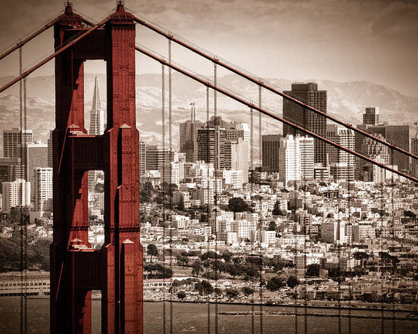 Golden Gate Poster featuring the photograph San Francisco through the Bridge by Matt Trimble