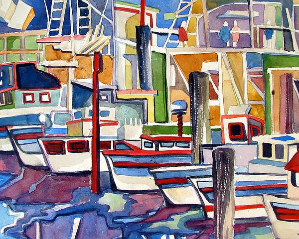 Marina Poster featuring the painting San Fransico Marina by Mindy Newman