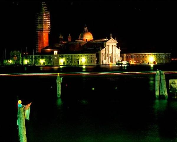 Venice Poster featuring the photograph San Georgio Maggiore In Venice At Night by Michael Henderson
