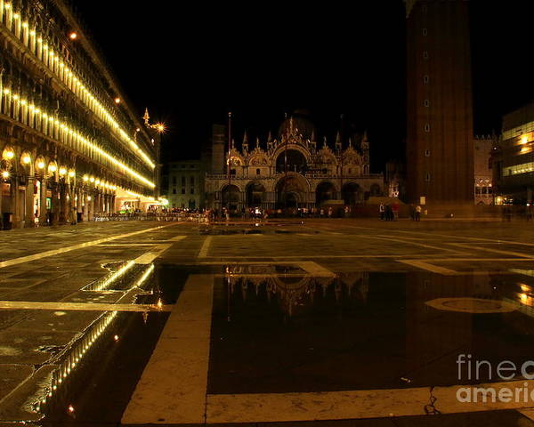Venice Poster featuring the photograph San Marco In Venice At Night by Michael Henderson