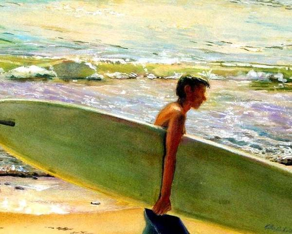 Surfing Surfboard Surf Art Ocean Landscape Sea California Surfer Color Coastal Atmosphere Poster featuring the painting San O Man by Kathy Dueker