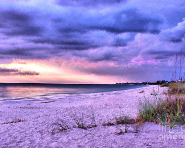 Seashore Beach Tropical Sunset Ocean Coastal Poster featuring the painting Sanctuary by Carolyn Staut