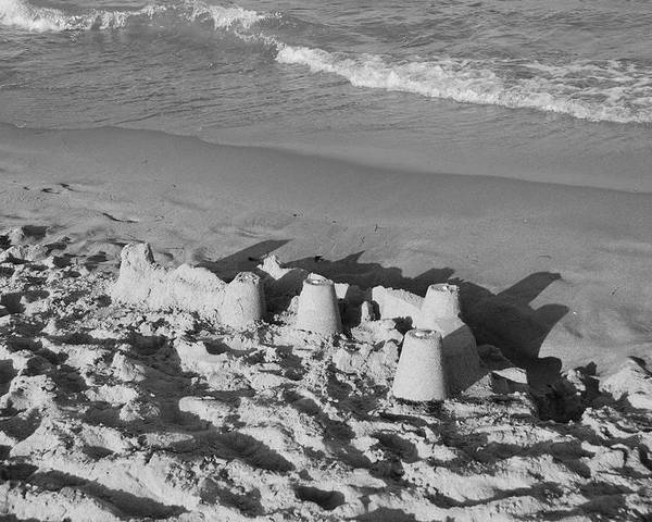 Sea Scape Poster featuring the photograph Sand Castles By The Shore by Rob Hans