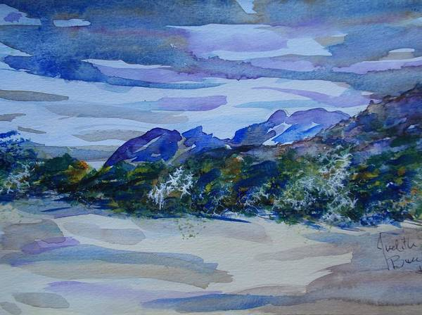 Sandia Mountains Poster featuring the painting Sandia Mountains by Judith Espinoza