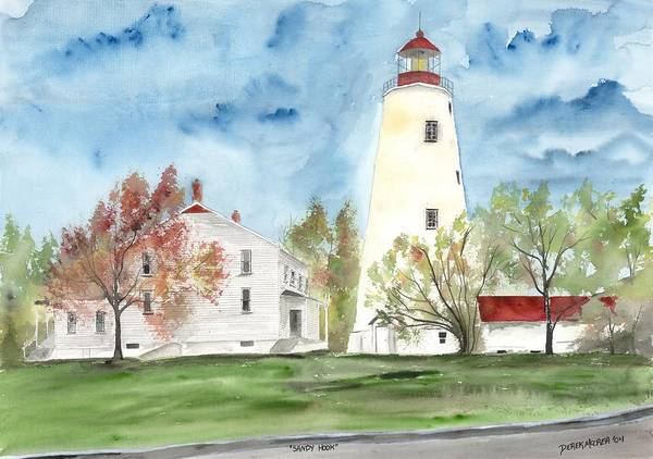 Watercolor Poster featuring the painting Sandy Hook Lighthouse by Derek Mccrea