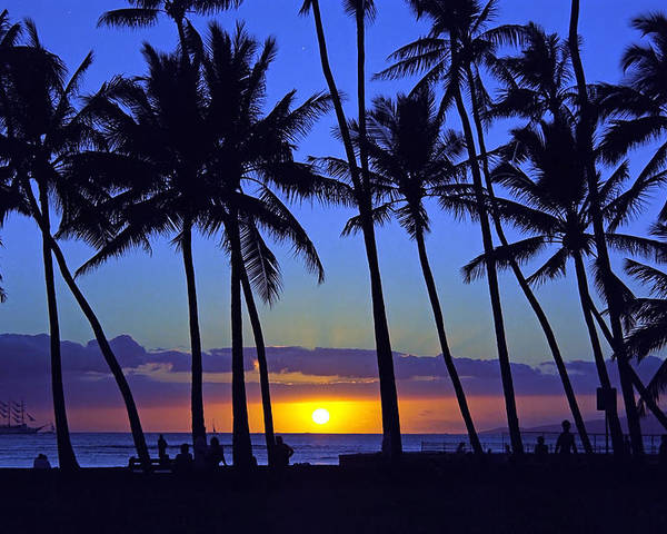 Hawaii Poster featuring the photograph Sans Souci Sunset Waikiki by Kevin Smith