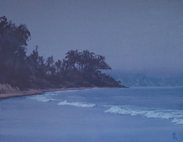 Beach Poster featuring the painting Santa Barbara Beach At Twilight by Philip Fleischer