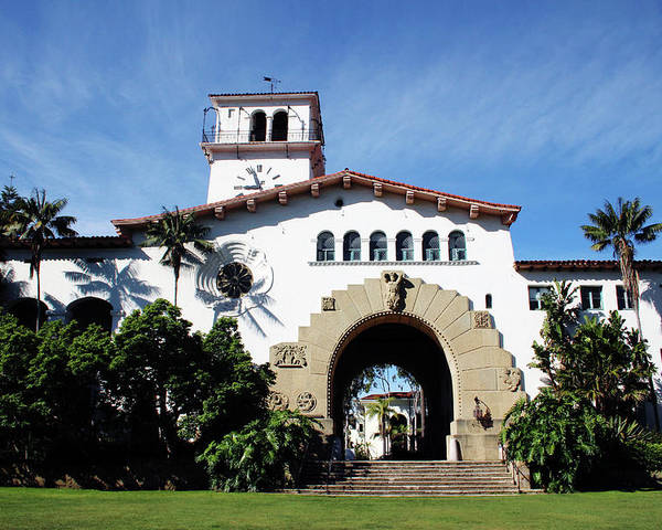 Santa Barbara Poster featuring the mixed media Santa Barbara Courthouse -by Linda Woods by Linda Woods