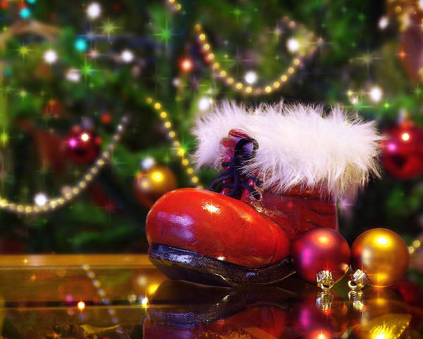 Background Poster featuring the photograph Santa-claus Boot by Carlos Caetano