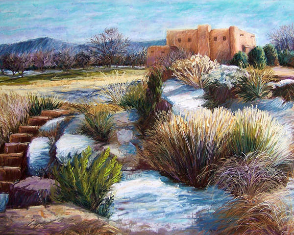 Landscape Poster featuring the pastel Santa Fe Spring by Candy Mayer