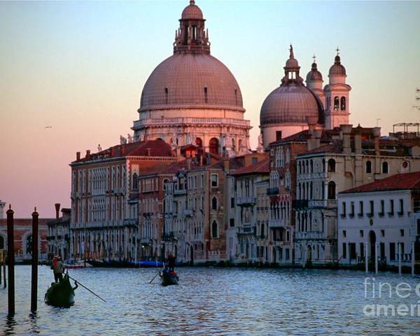 Venice Poster featuring the photograph Santa Maria Della Salute On Grand Canal In Venice In Evening Light by Michael Henderson