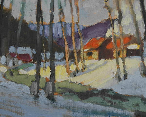 Berkshire Hills Paintings Poster featuring the painting Sap House  Study by Len Stomski