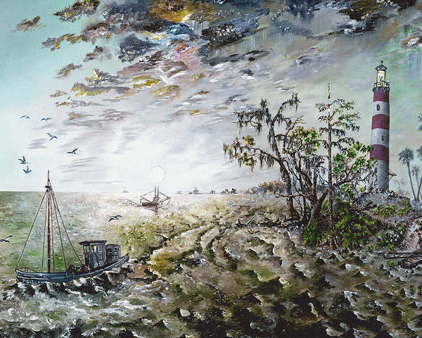 Lighthouse Poster featuring the painting Sapelo Island by Richard Barham