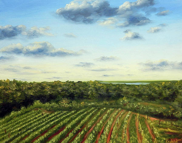 Vineyards Poster featuring the painting Saude Creek Sunset I by Anne Kushnick