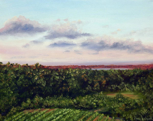 Vineyards Poster featuring the painting Saude Creek Sunset II by Anne Kushnick