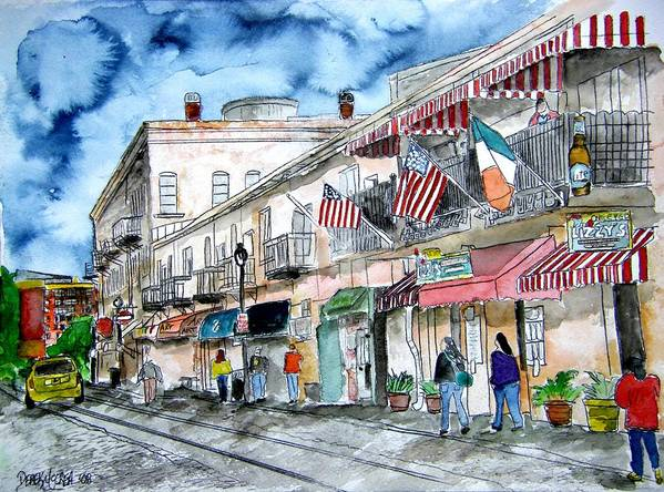 Pen And Ink Poster featuring the painting Savannah Georgia River Street by Derek Mccrea