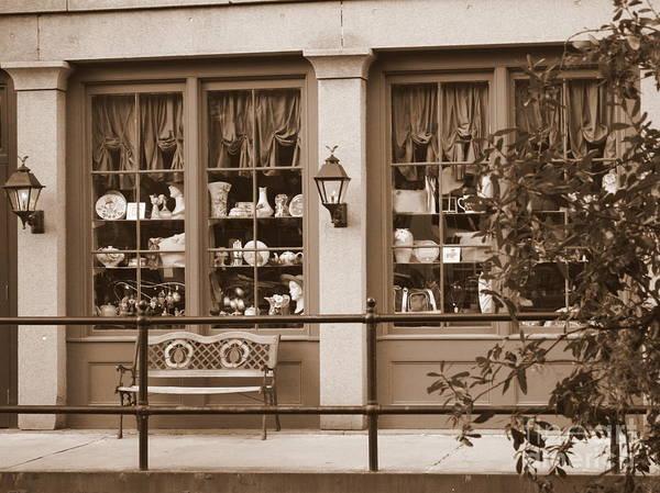 Savannah Poster featuring the photograph Savannah Sepia - Antique Shop by Carol Groenen