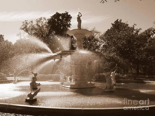 Savannah Poster featuring the photograph Savannah Sepia - Forsyth Fountain by Carol Groenen